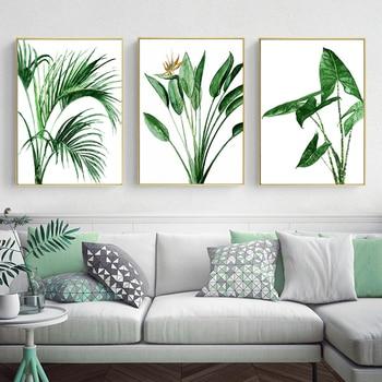 Lienzo de hojas de Alocasia escandinava moderna, pinturas de plantas verdes, póster...