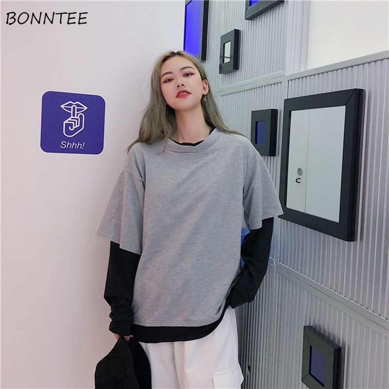 Hoodies Women 2020 Fashion Harajuku Loose Patchwork Long Sleeve Pullovers Simple Chic Hip Hop Female Sweatshirt Soft Student