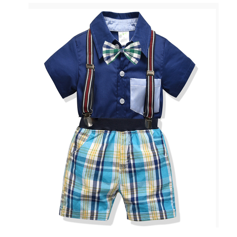 2019 Fashion Plaid Baby Boy Clothes Summer Gentleman Suit Christening Formal Party Bodysuit Jumpsuit Baby Clothing 2 6 Years in Clothing Sets from Mother Kids