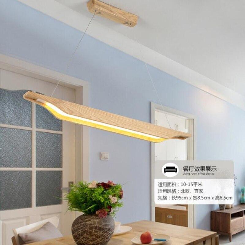 Lampe suspendue nordique en bois massif pour Restaurant 75cm 18w 95cm 30w lampe de salon puce LED 110v 220v