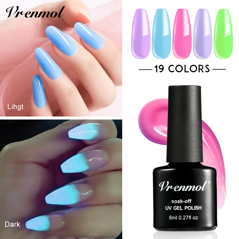 Vrenmol 1pcs Shimmer Neon Fluorescent Luminous Glow In Dark Night Long Lasting Lucky Lacquer Gel Varnish Nail Gel Polish