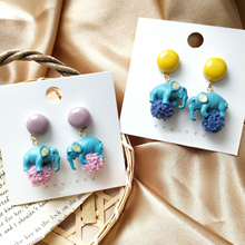 Cute Elephant Earrings Fashion Blue with Ball of Yarn Drop Colorful for Women