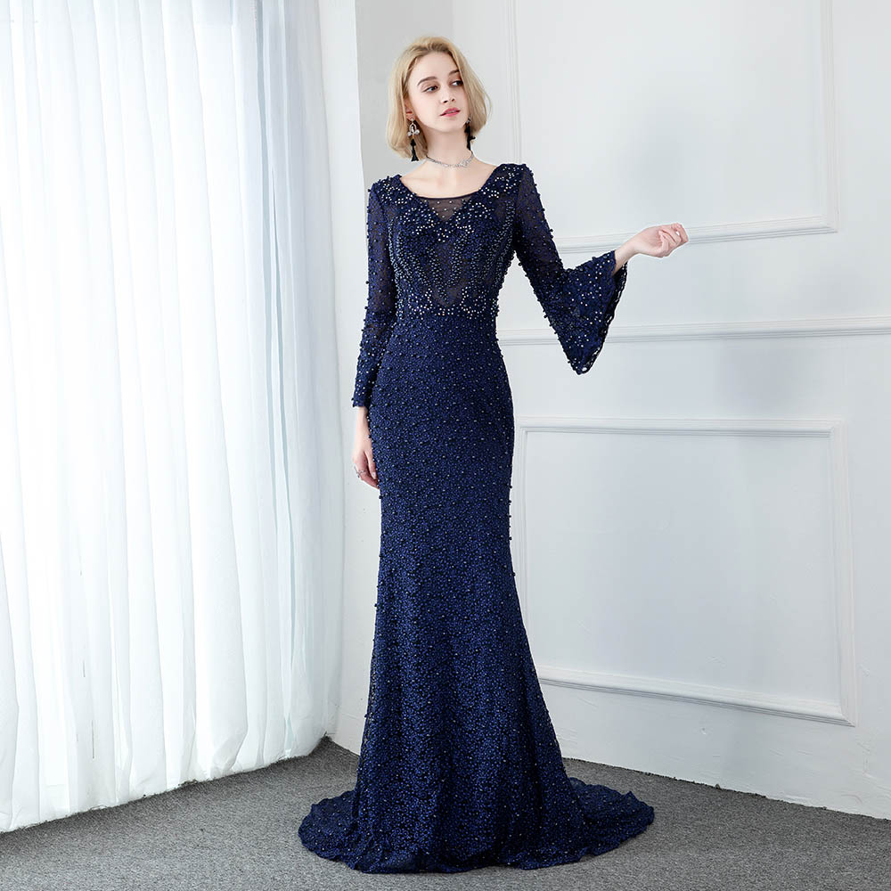 Elegant Navy Long Sleeve Lace Evening Dresses Muslim Crystal Pearls Mermaid Formal Evening Gowns 2020