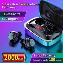 TWS bluetooth 5.0 earphone mini Wireless Earphones with 2000mAh LED power display touch button noise reduction Sport Headset