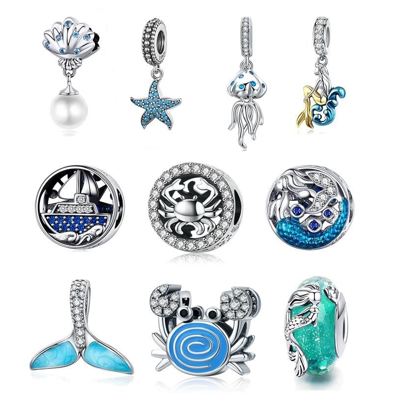 Abby Jewelry S925 Sterling Silver Drum Blue Enamel Ball Charm Bead Fits European Dora DIY Bracelets Necklaces
