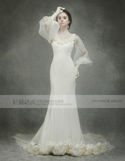 Free Shipping 2018 New Fashion Bride Long Vestidos Formal High Long Sleeve Bridal Gown Flowers Custom Mermaid Wedding Dresses