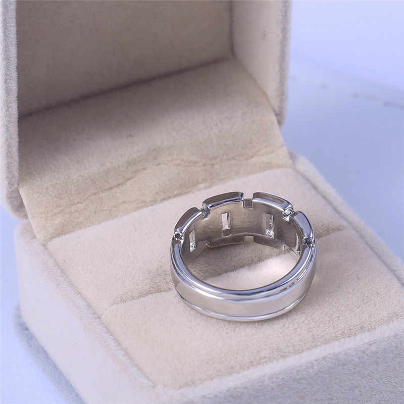 Di Modo 925 Anelli D'argento per Gli Uomini di Sesso Maschile Semplice Degli Uomini di Anello di Cristallo Anello Dei Monili Regali Aziendali
