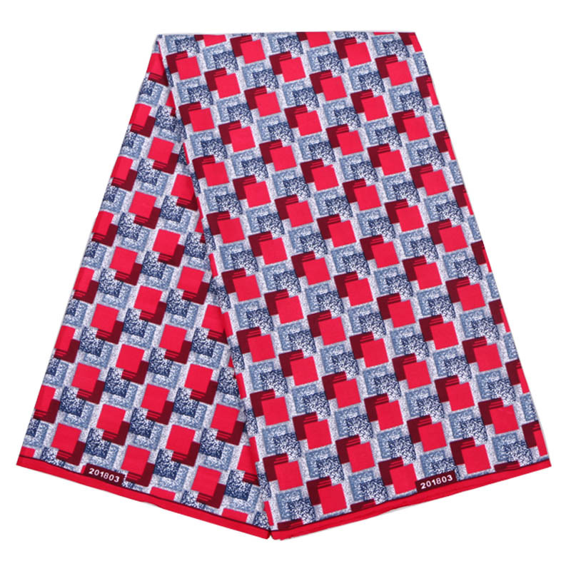2019 African Dutch Wax New Fashion Design Fabric Red Square Pattern Print Pagnes African Guaranteed Wax Print Fabric