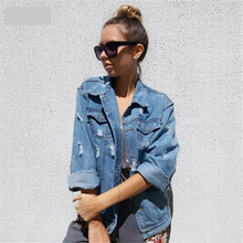 Women Basic Coat Denim Jacket 2019 Winter For Jeans Loose Fit Casual Style