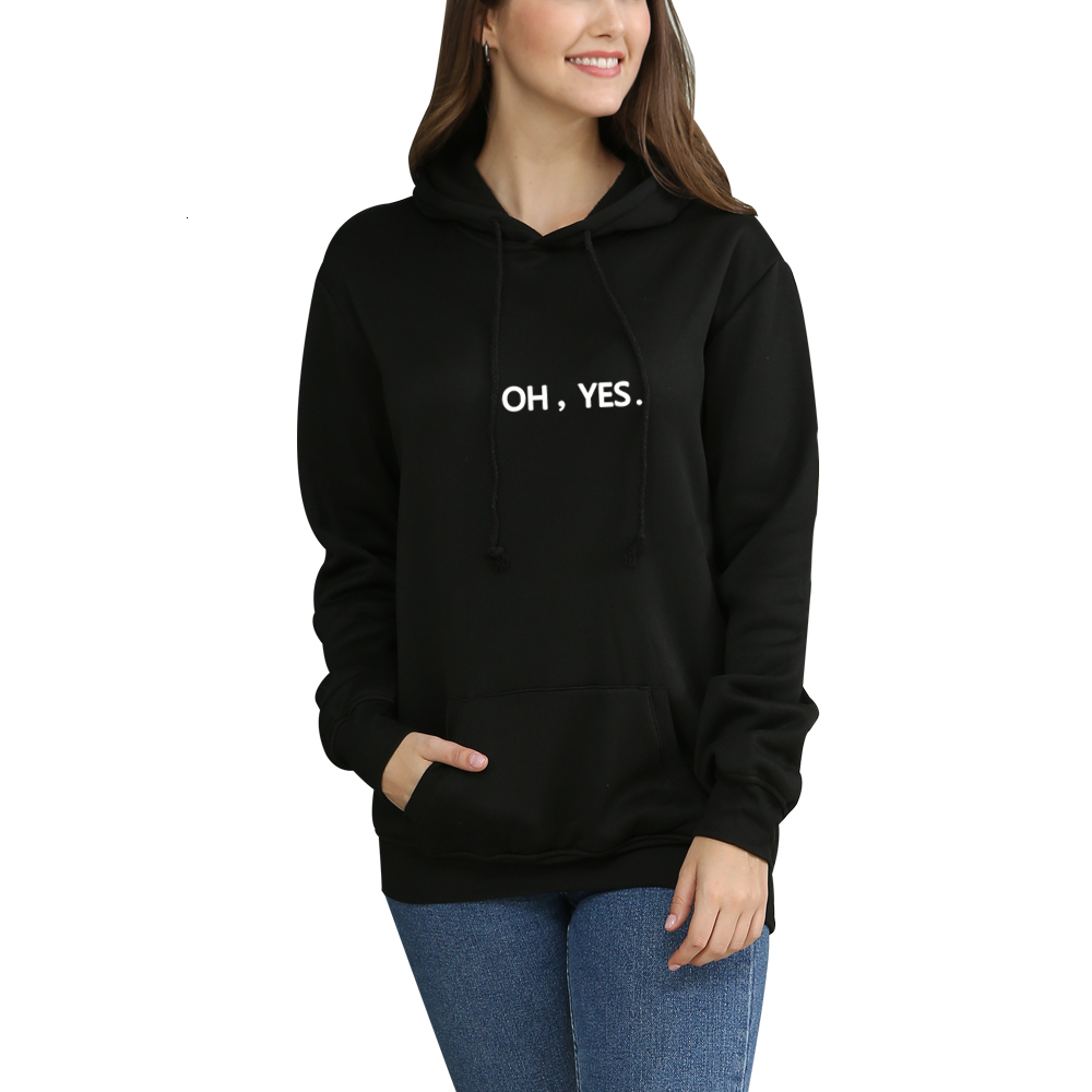 Women Hoodies Casual OH YES Print Solid Loose Sweatshirt Long Sleeve Hooded 2020 Autumn Female Pullover Plus Size 4XL