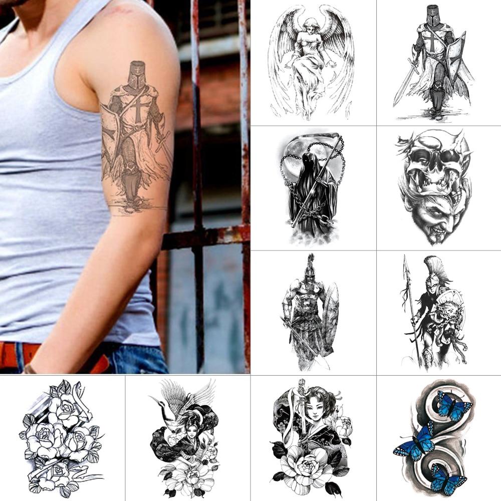 Ink Color Temporary Stickers Warrior Demon Waterproof Fake Tattoos Skull Flower Butterfly Body Art Tattoo Sticker Tattoo