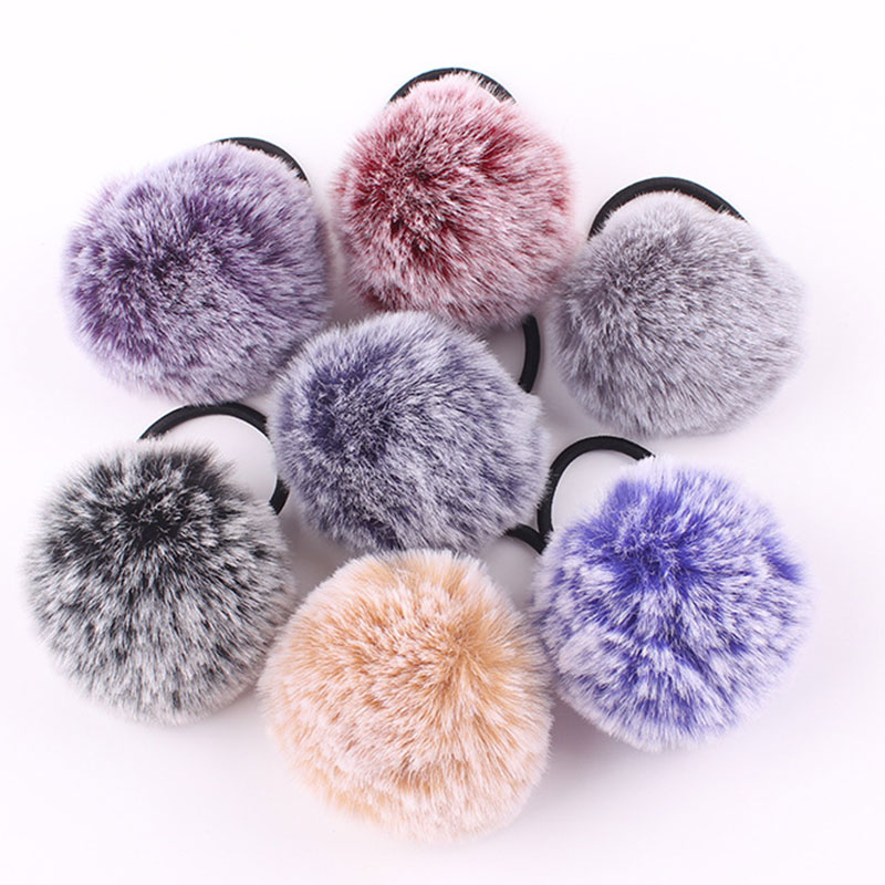 Cute Faux Rabbit Fur Ball Elastic Hair Rope Rings Ties Rubber Bands Ponytail Holders Girls Hairband Hair Scrunchie Accessories