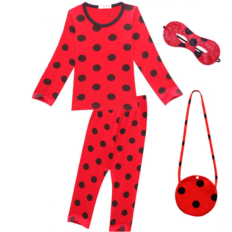 Girls Boys Fantasia Spandex <font><b>Ladybug</b></font> <font><b>Costumes</b></font> <font><b>Kids</b></font> Christmas Party Clothes Children Lady Bug Pajamas Home Wear for Girl with Bag image