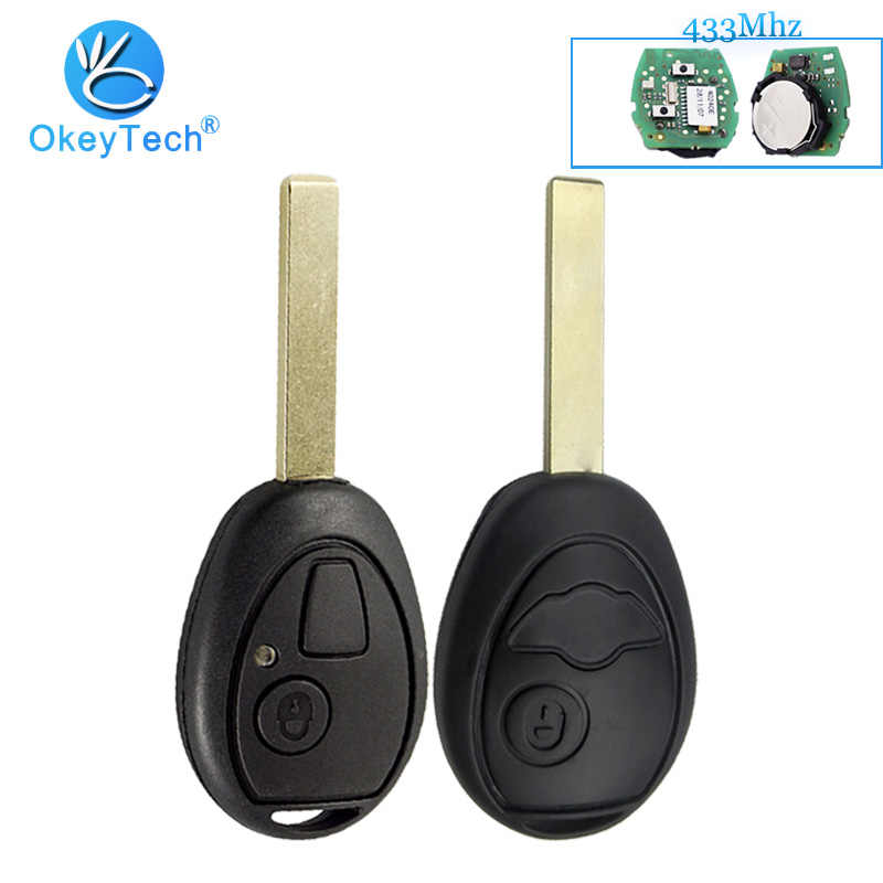 OkeyTech مفتاح تحكم عن بعد ل BMW ميني كوبر S R50 R53 ل اند روفر 433Mhz 2 مفتاح ذكي بزر تقطيعه فارغة شفرة مع رمز