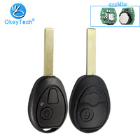 OkeyTech Remote Control Key for BMW Mini Cooper S R50 R53 for Land Rover 433Mhz 2 Button Smart Key Uncut Blank Blade With Code