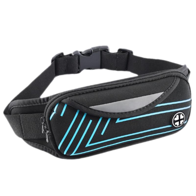 Waist Bum Bag Fanny Pack Belt Money For Running Jogging Cycling Phones Sport Running Waterproof Belt Waist Bag,Blue+Black