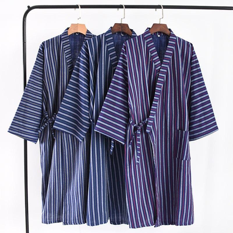 100% Cotton  Robe Men Bath Robe Mens Kimono Robe For Autumn And Summer 1286
