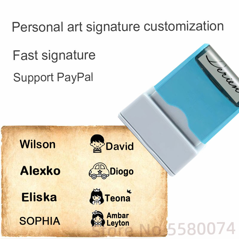 Personalized Customized Name Stamp DIY Baby Name Seal Security Name Sticker Seal Sticker Support Handwriting Customiza Washable