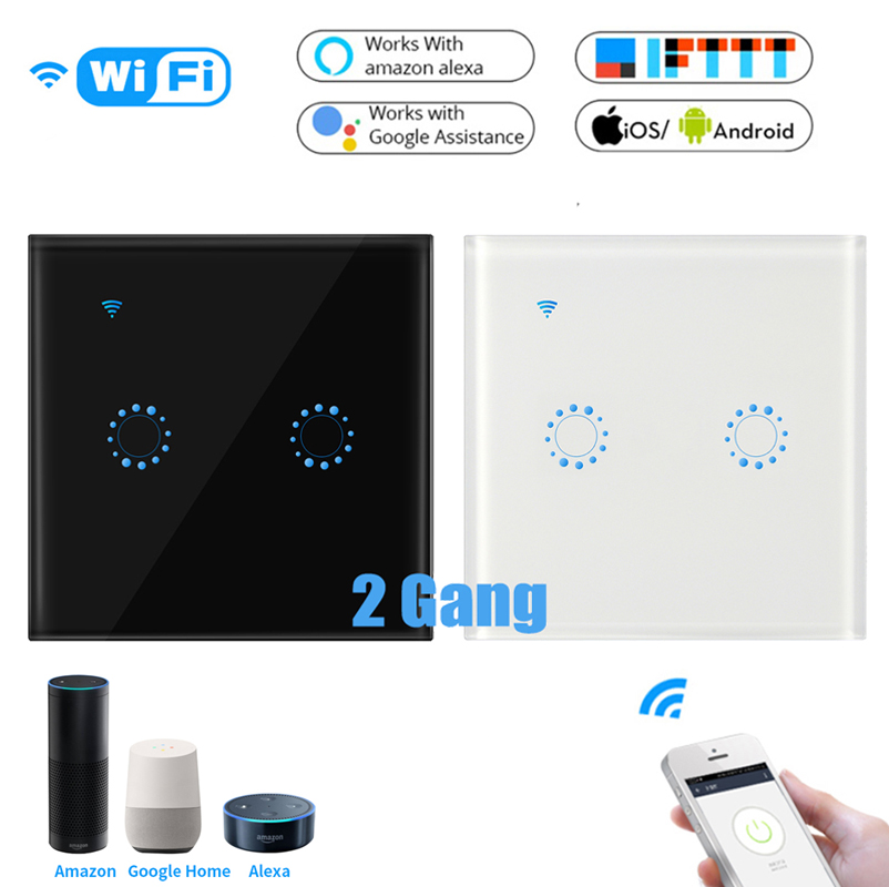 EU Plug Wifi Touch Switch 2Gang Samrt Switch Panel Wireless Intelligence Timing & Remote Control APP Work With Alexa Google