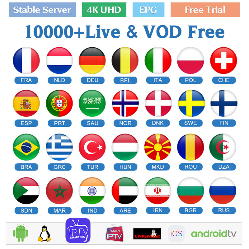France IPTV Subscription Germany Arabic Sweden Norway Denmark Finland Belgium Dutch Portugal Spanish IPTV Android M3u IP TV