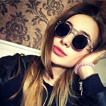 Steampunk Round Sunglasses Mens Fashion Luxury Brand Designer Retro Personality Metal Frame Womens Glasses UV400