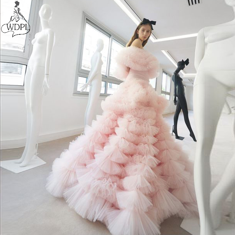 Amazing Layered Tulle Ball Gown Prom Dresses Puffy Lush Off the Shoulder Pageant Evening Dress Party Gowns Maxi Robe de soiree