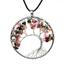Chakra Quartz Natural Stone Tree of Life pendulum Pendant Necklace for Women Healing Crystal Necklaces Pendants Reiki Jewelry(China)