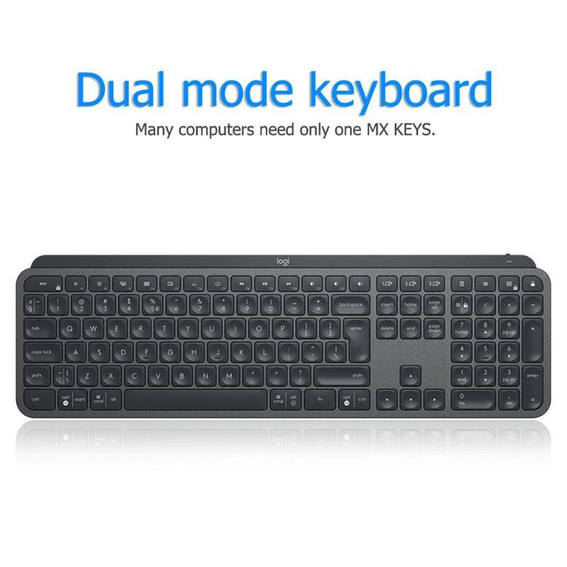 Logitech MX Keys Keyboard 109 Keys Bluetooth Wireless Dual Mode Backlight Rechargeable Easy-Switch Home Office Keyboard