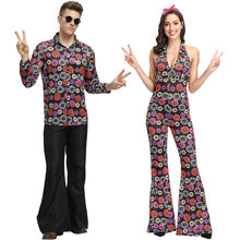 Sexy V Neck 60s 70s Retro Hippie Gogo Women Men Disco Costume For Couple Halloween Party Cosplay Music Festival Dress(China)
