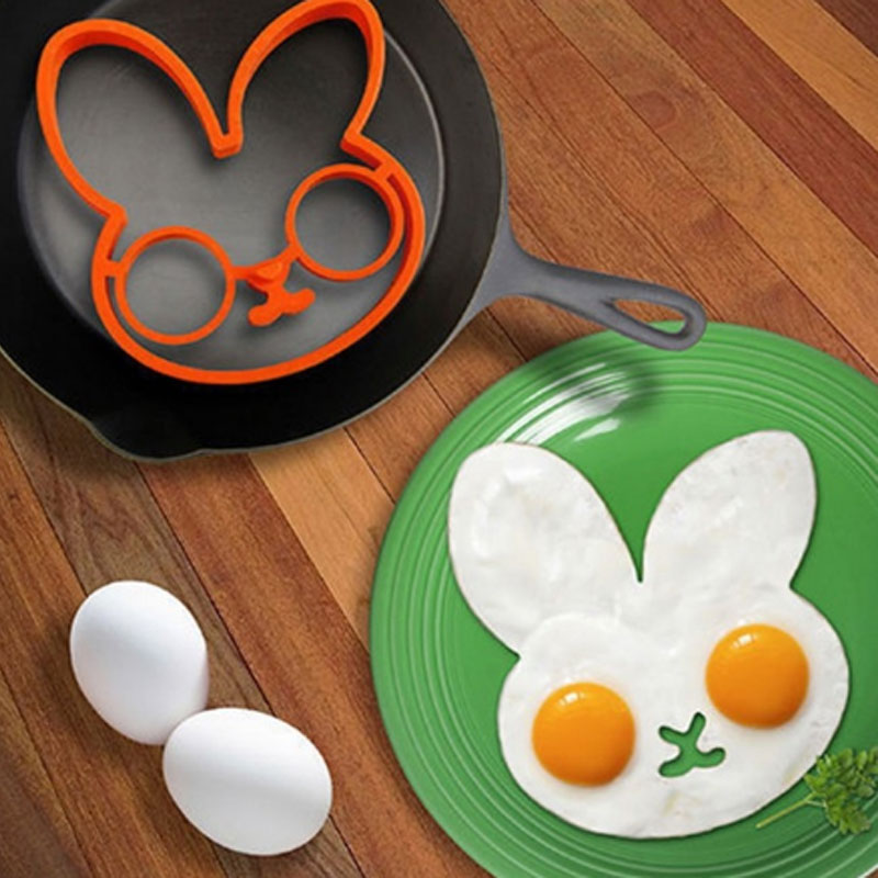 1PCS Multicolor Rabbit Omelette Silicone Rubber Egg Mold Cute Rabbit Form For Eggs Fried Frying Pancake Egg Ring Cooking image