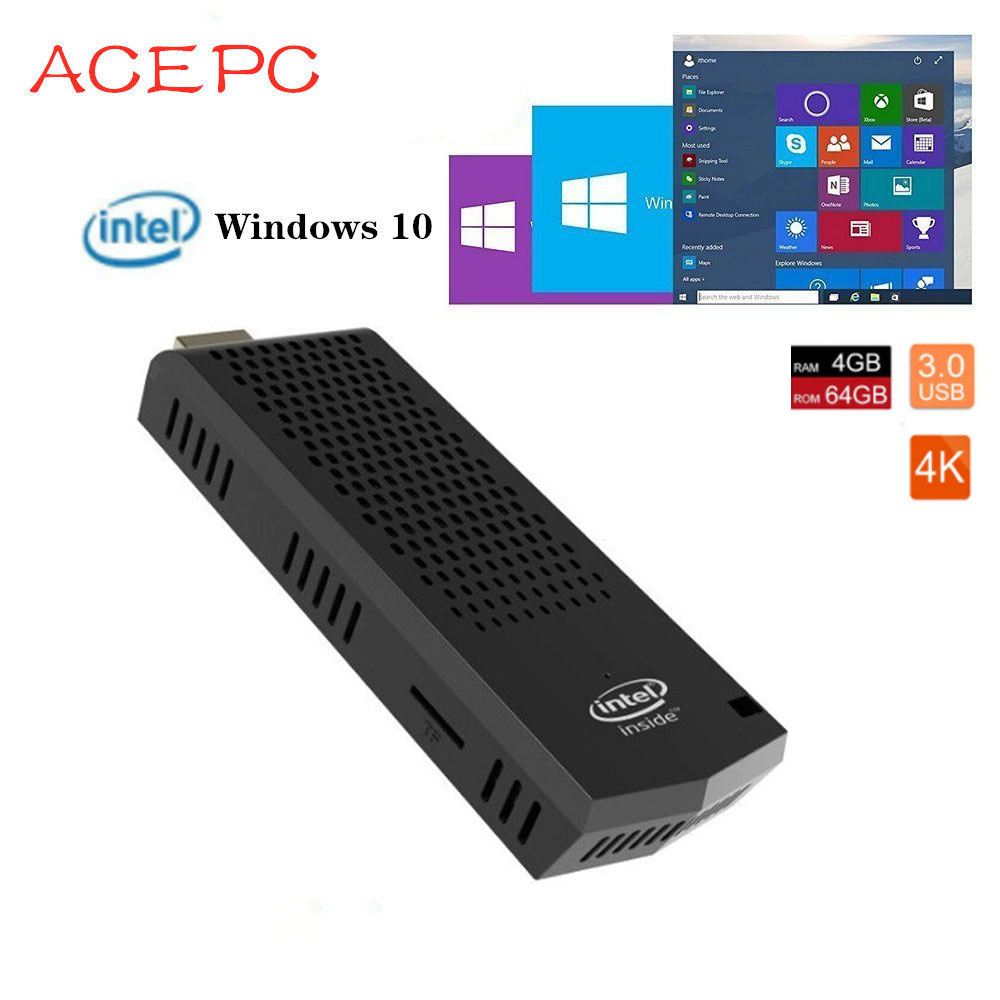 T6 Pro Stick MINI PC Windows 10 licence Intel Atom x5-Z8350 ordinateur de poche mini sans ventilateur 4GB 64GB ROM 2.4/5.8G WIFI ordinateur PC