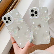 3D Butterfly Glitter Clear Phone Case For iPhone 11 12 Pro Max XS XR 7 8 Plus SE 2020 Mini Soft Back Cover Coque
