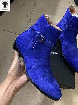 FR. Lancelet 2020 nuevas botas de cuero de ante para hombres botas de punta con hebilla en el tobillo cadenas de astilla metálica botas de fiesta para hombres