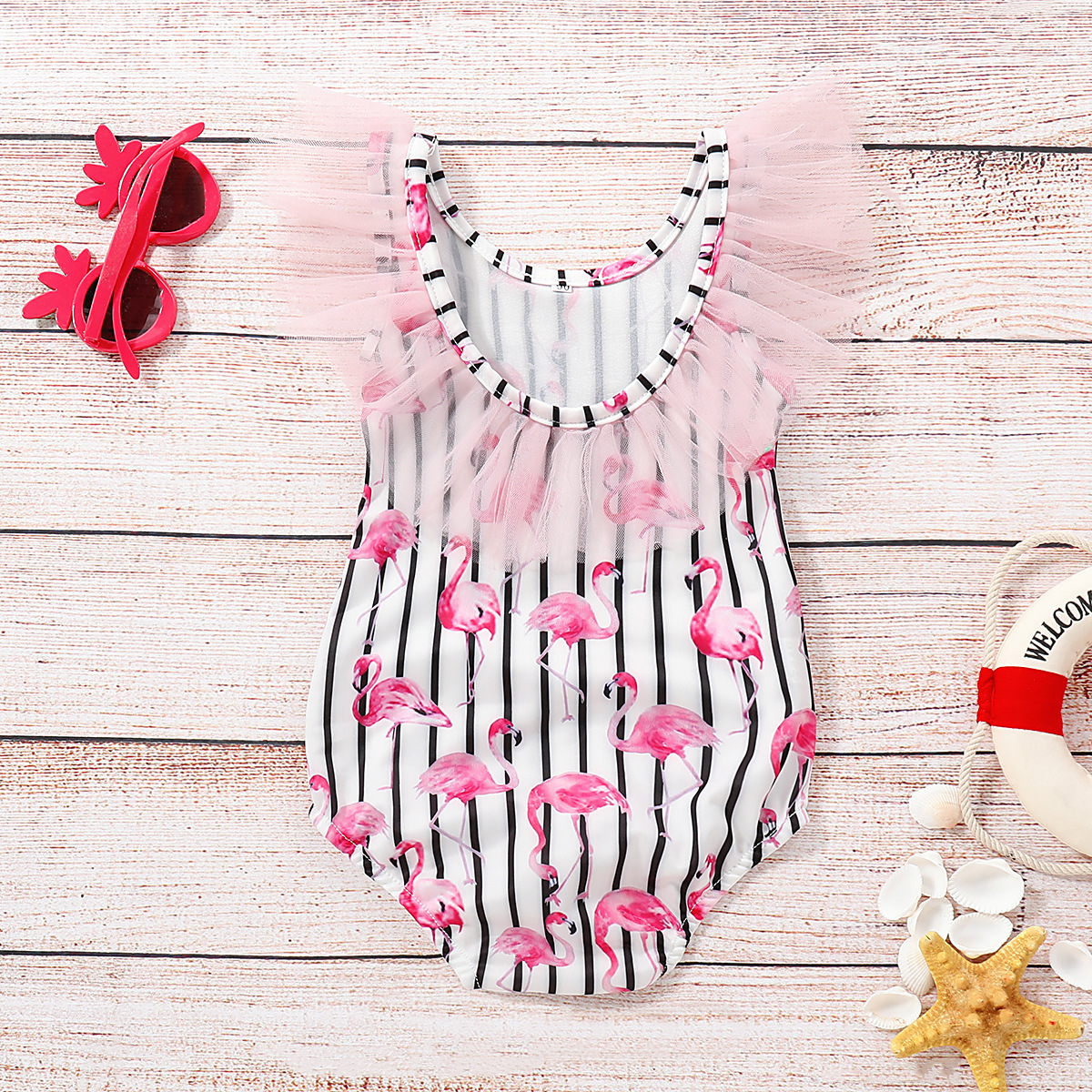 Hot Selling Girls Stripes Flamingo One-piece Swimming Suit