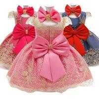 Платье с цветочным узором для маленьких девочек; платья для крещения для девочек; кружевные вечерние платья со шлейфом для первого дня рожд...
