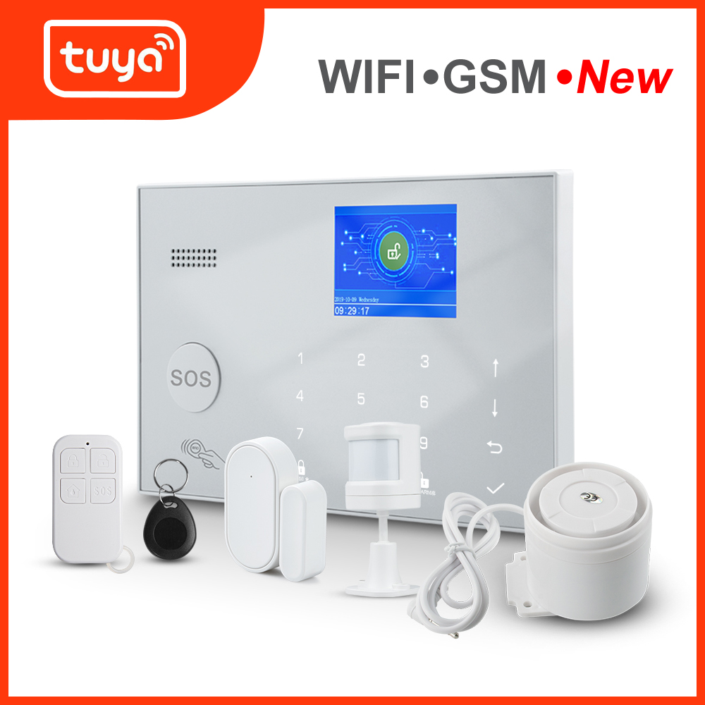 Awaywar Tuya Alarm System 433MHz Wireless WIFI GSM RFID Security kit APP Remote Control Burglar Smart Home PIR Door Detector