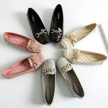 2019 Spring Flats Women Shoes Loafers Genuine Leather Slip Womens Female Plus Size 36-41 Yasilaiya
