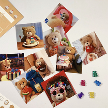 Korea Cute Teddy Bear Small Poster Sticker Postcard Hand Account Album Phone Sticker Wall Decoration Kawaii Pendulum Props
