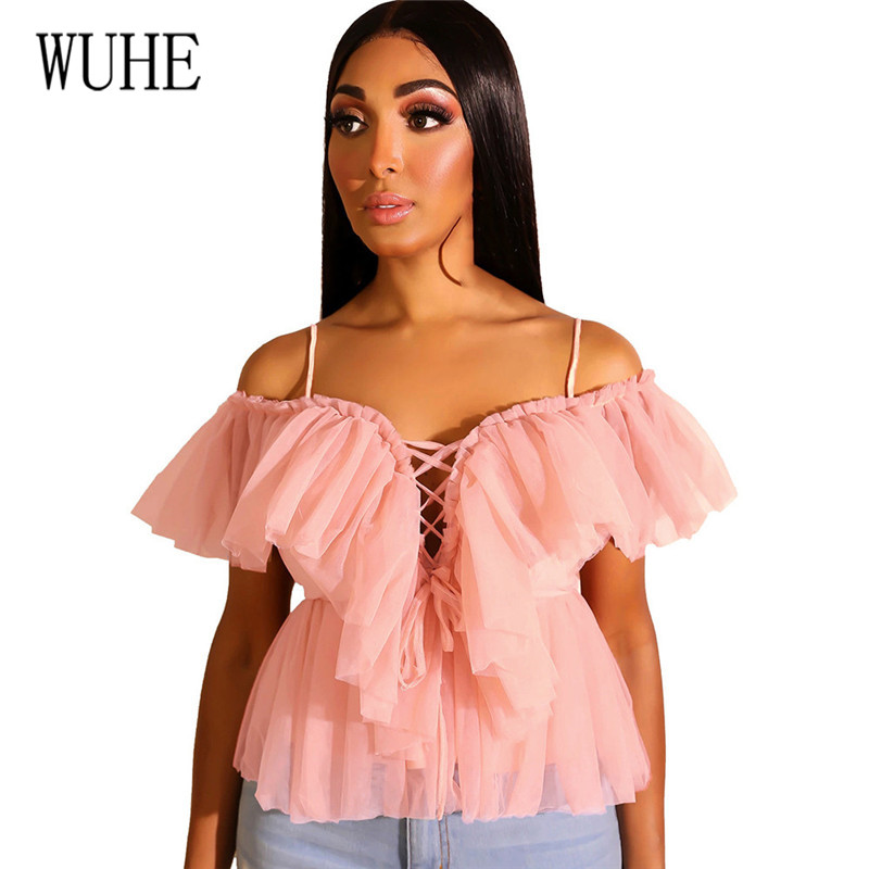 WUHE New Arrival Top Elegant Sleeveless Wear Womens Summer Strapless Strap Mesh Cut Sexy Hollow Out Spaghetti Femme