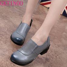 Gktinoo 봄 가을 패션로 퍼 100% 정품 가죽 단일 신발 소프트 캐주얼 플랫 신발 여성 플랫 어머니 신발 35 40
