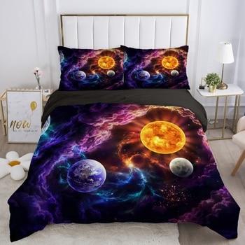 3D Bedding Sets Euro Double Queen King Duvet Cover Set Blanket Quilt Cover 2-3Pcs Bed set Starry Galaxy Planet bedding set double euro altinbasak navi sky blue