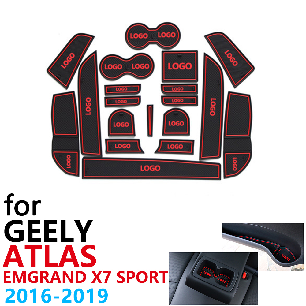 Anti-Slip Rubber Cup Cushion Door Groove Mat for <font><b>Geely</b></font> Atlas <font><b>Geely</b></font> <font><b>Emgrand</b></font> <font><b>X7</b></font> Sport NL-3 NL3 2016~<font><b>2019</b></font> Accessories mat for phone image
