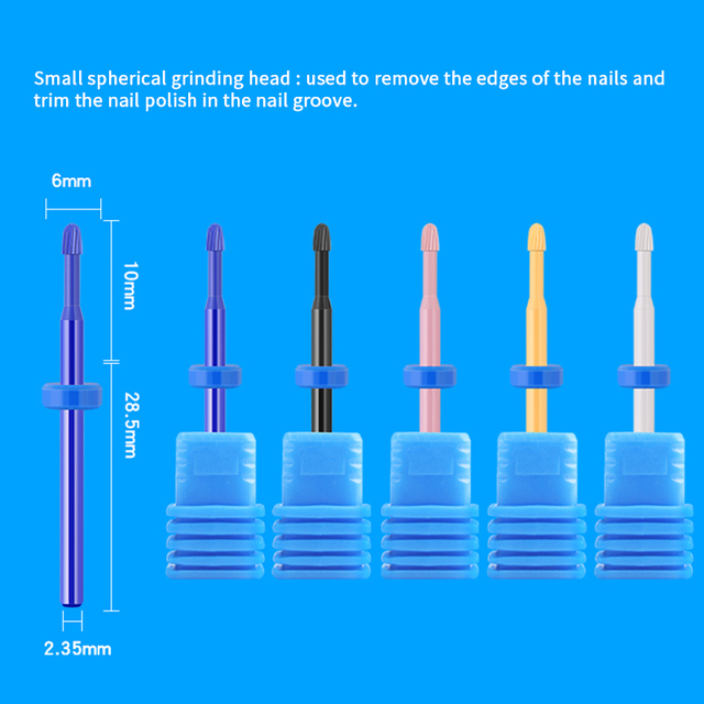 1 pc Ceramic Nail Drill Bits Milling Cutter for Manicuring Colorful Grinding Head Electric Nail File Buffer Nail Art Tools 2