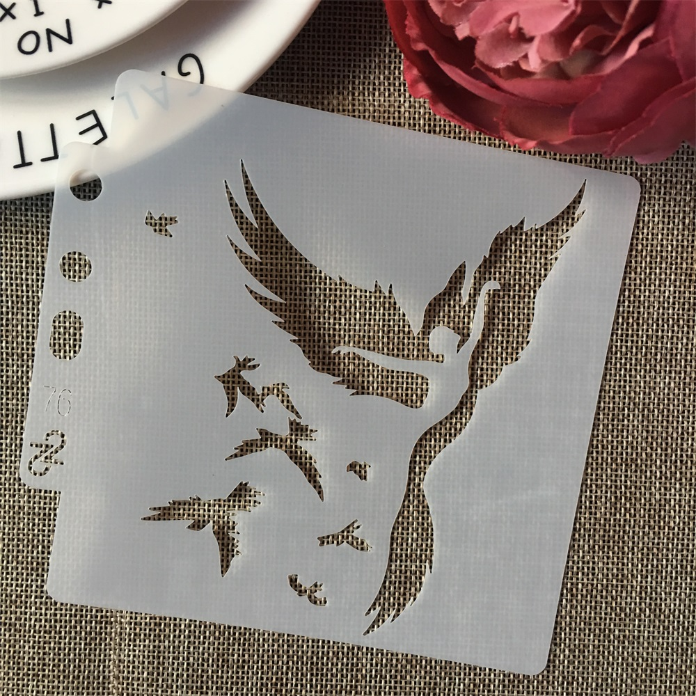 5inch Bird Flying Dancing Girl DIY Layering Stencils Painting Scrapbook Coloring Embossing Album Decorative Card Template