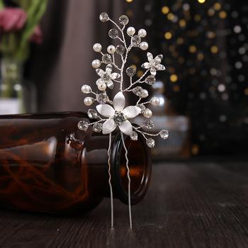 Nowa perła kryształowy kwiat spinki do włosów dla panny młodej kobiety ślubne akcesoria do włosów Handmade chluba pałeczki do włosów biżuteria gorąca sprzedaż tanie i dobre opinie TUANMING CN (pochodzenie) Ze stopu cynku moda Symulacja perły TRENDY UZ116 PLANT Silver 12 5cm 5 5cm