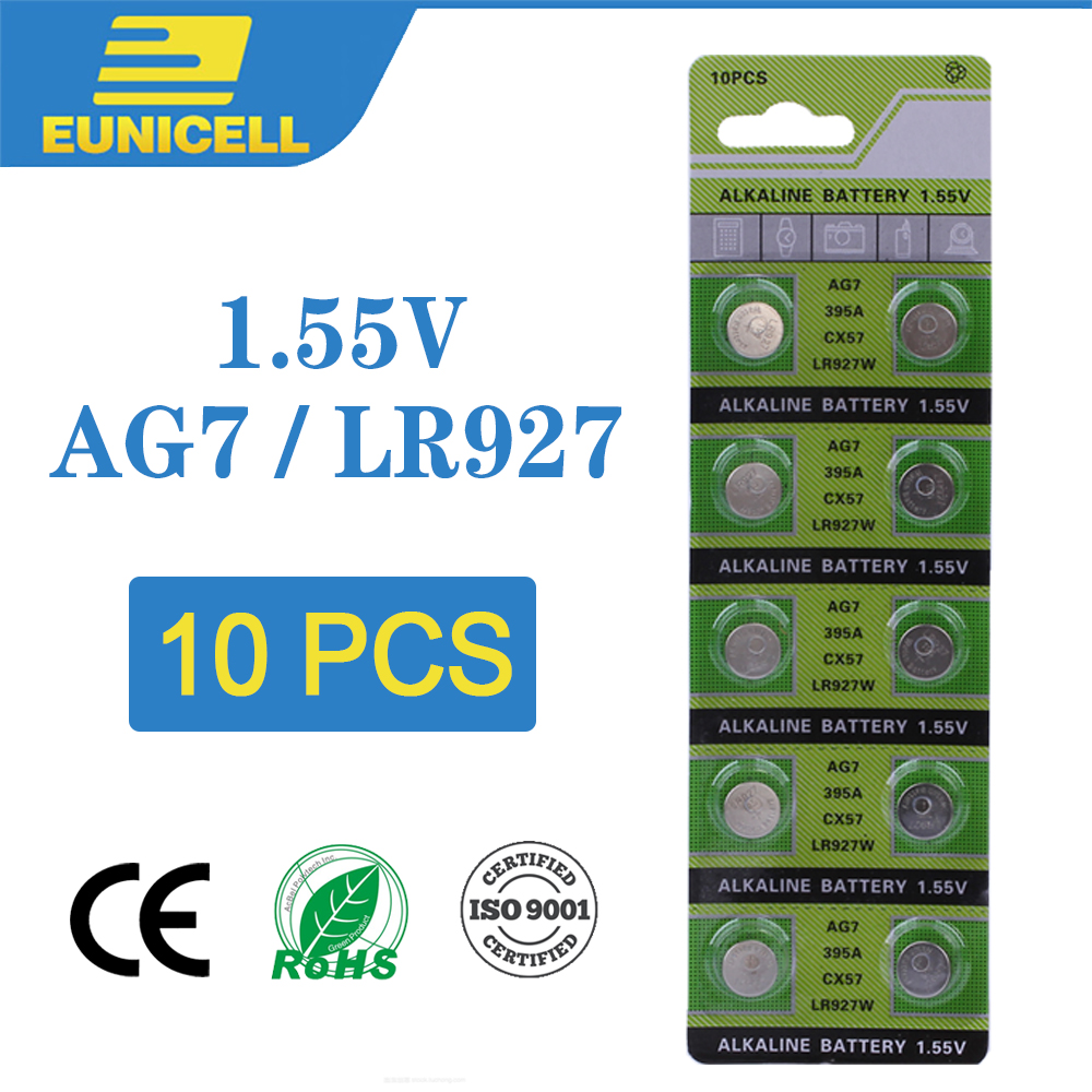 10pcs Alkaline Cell Coin Battery 1.55V AG7 LR927 Button Batteries  LR57 395A  SR927W GR927 195 399 523G7A AG 7 For Watch Toys