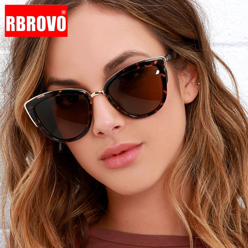 RBROVO 2019 Fashion Metal Sunglasses Women Vintage Cateye Eyewear For Women Mirror Retro Party Oculos De Sol Feminino UV400 in Women 39 s Sunglasses from Apparel Accessories