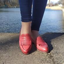 Phụ Nữ Giày Penny Loafers Người Phụ Nữ Da Cừu Moccasin Da Thật Chính Hãng Da Trơn Trượt Trên Mũi Nhọn Đế Giày Handmade Giày Oxford Mùa Xuân 2020