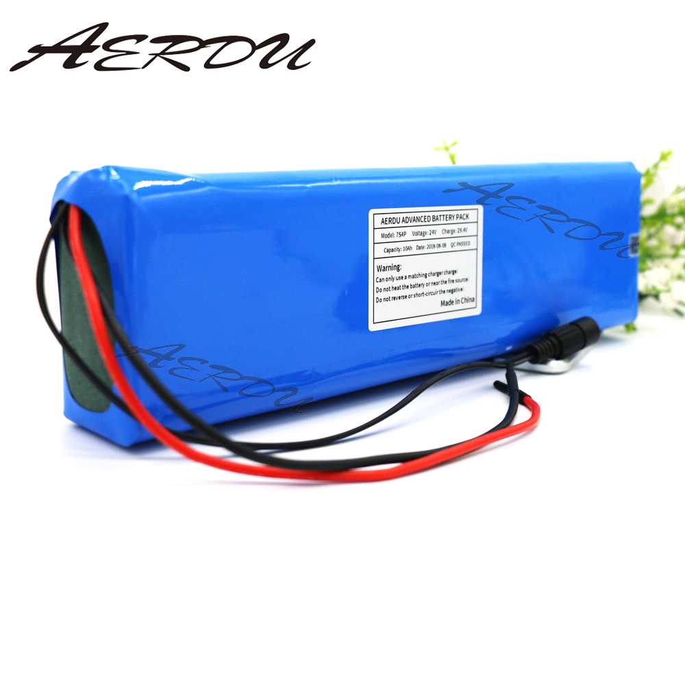 AERDU 7S4P 24v 10Ah electric bicycle motor ebike scooter 29.4v li ion battery pack 18650 lithium rechargeable batteries 20A BMS