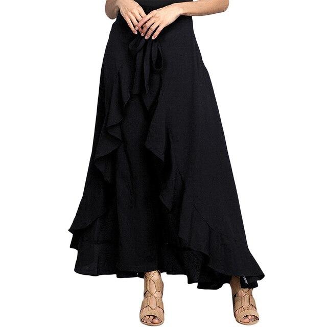 Women Palazzo Pants 2020 Causal Ruffle Drawstring Trouser Elegant High Waist Irregular Loose Pure Color Autumn Female Pant Skirt 4